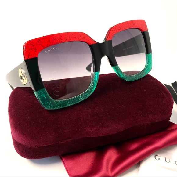 05f1c62aa5 GUCCI Large square Sunglasses Glitter Red   Black